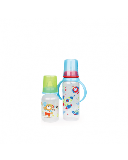 OKBB Twin Pack Feeding Bottle (4oz + 8oz With Handle) - Assorted Color