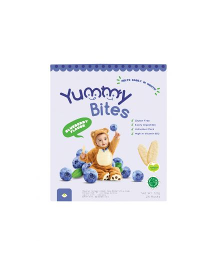 Yummy Bites Baby Rice Crackers - Blueberry Flavour (6M+)