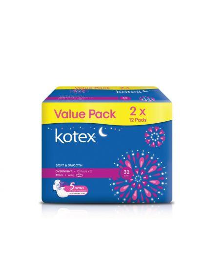 Kotex Overnight Wing - 32cm (12's x 2 Packs)