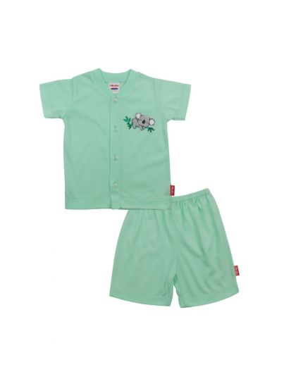 BeBe Boy Round Neck Short Slevee Front Opening Tee With Bermuda Pants - Light Green (CBN2183201-LG)