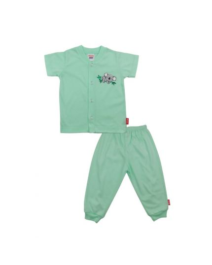 BeBe Boy Round Neck Short Slevee Front Opening Tee With Long Pants- Light Green (CBN2138202-LG-3M)