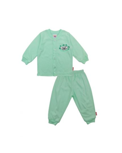 BeBe Boy Round Neck Long Slevee Front Opening Tee With Long Pants-Light Green (CBN203680-LG)