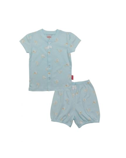 BeBe Girl Round Neck Short Slevee Front Opening Tee With Bermuda Pants-Light Blue (CBN2038001-LB)