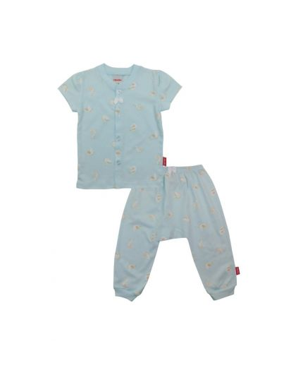 BeBe Girl Round Neck Short Slevee Front Opening Tee With Long Pants-Light Blue (CBN2038002-LB-3M)