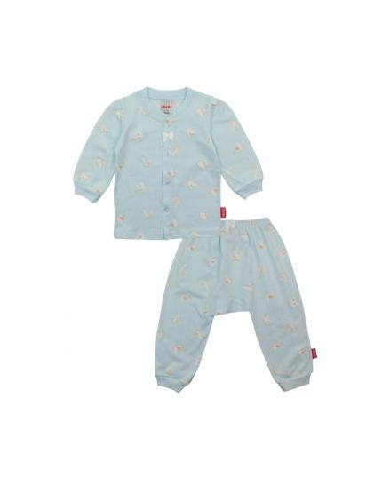 BeBe Girl Round Neck Long Slevee Front Opening Tee With Long Pants-Light Blue (CBN2038003-LB)