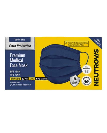 Neutrovis Extra Protection Premium 4Ply Medical Mask  -Dark Blue (50's)