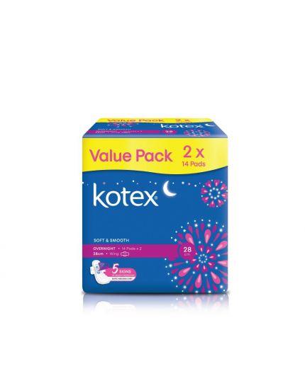 Kotex Soft & Smooth Overnight Wing - 28cm (14's x 2 Packs)