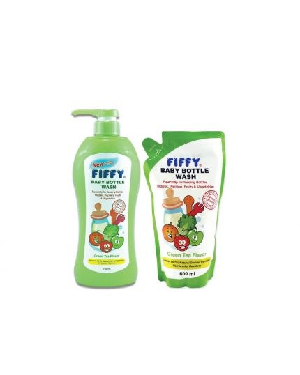 Fiffy Baby Bottle Wash (750ml+600ml) - Green Tea