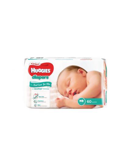 Huggies Platinum Diaper Jumbo Pack - NB (60 pcs)
