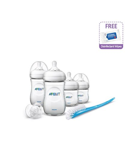 Philips Avent Natural Newborn Starter Set + Free Alcosm 75% Alcohol Wipes 50's