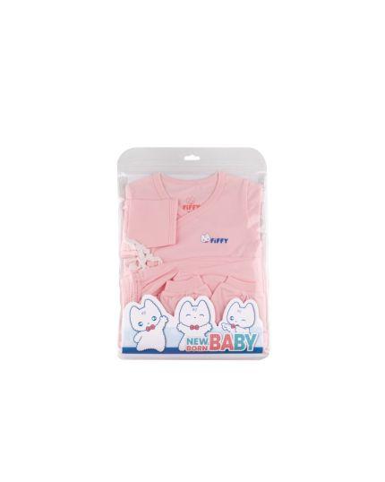 Fiffy Girl Basic Wear Long Sleeve + Long Pants + Mitten & Booties Set Suit Pink - 1320005