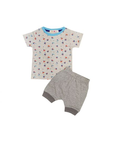Baby Hippo Unisex Basic Collection Printed 2 in 1 Suit Set - Beige/Melange (HTS0321-19013)
