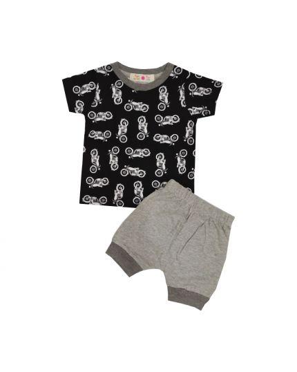 Baby Hippo Unisex Basic Collection Printed 2 in 1 Suit Set - Black /Melange (HTS0321-19013)