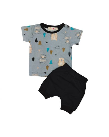 Baby Hippo Unisex Basic Collection Printed 2 in 1 Suit Set - Blue/Black (HTS0321-19013)