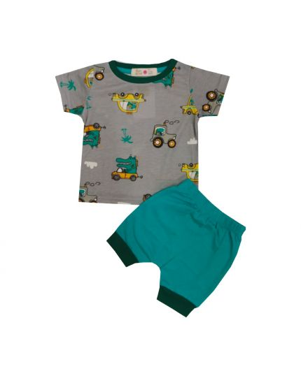 Baby Hippo Unisex Basic Collection Printed 2 in 1 Suit Set - Grey/Green (HTS0321-19013)