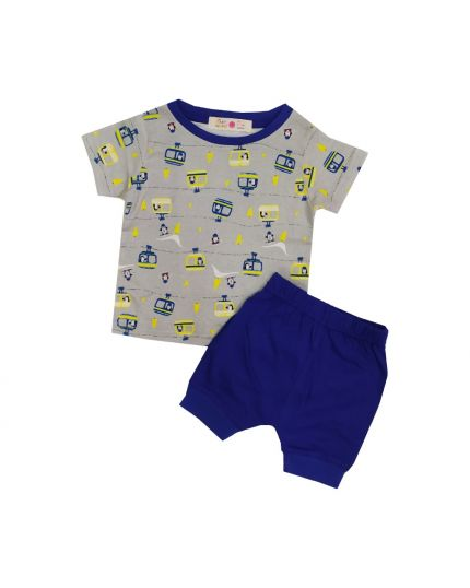 Baby Hippo Unisex Basic Collection Printed 2 in 1 Suit Set - Grey/Royal Blue (HTS0321-19013)