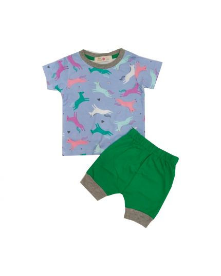 Baby Hippo Unisex Basic Collection Printed 2 in 1 Suit Set - Lt.Blue/Green (HTS0321-19013)