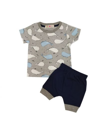 Baby Hippo Unisex Basic Collection Printed 2 in 1 Suit Set - Melange/navy (HTS0321-19013)