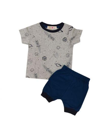 Baby Hippo Unisex Basic Collection Printed 2 in 1 Suit Set - Melange/Dk.Blue (HTS0321-19013)