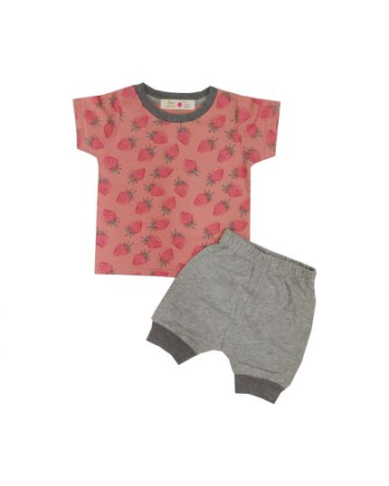 Baby Hippo Unisex Basic Collection Printed 2 in 1 Suit Set - Pink/melange (HTS0321-19013)