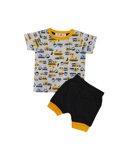 Baby Hippo Unisex Basic Collection Printed 2 in 1 Suit Set - White/Black (HTS0321-19013)