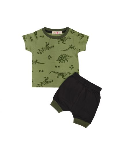 Baby Hippo Unisex Basic Collection Printed 2 in 1 Suit Set - Green/Black (HTS0321-19013)