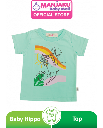 Baby Hippo Unisex Basic Collection Printed Short Sleeve Top - Light Green (HTT0621-19022)