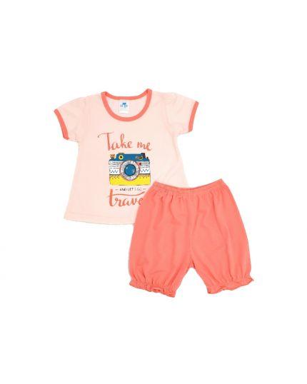 Anakku Girl Suit Set Peach (K3-4222-C)