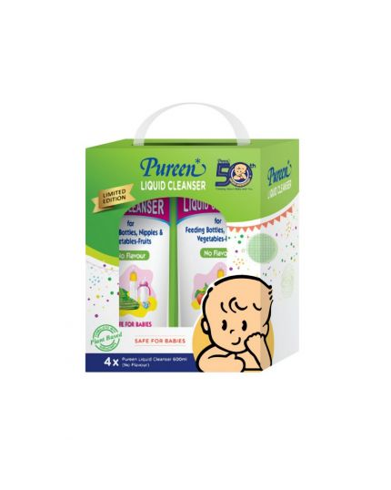 Pureen Liquid Cleanser Refill Pack (600ml x 4) - Mint/Orange/No Flavor