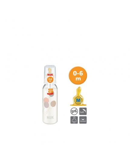 Nuk Printed PP Bottle With Latex Teat Size 1 Medium (240ml)