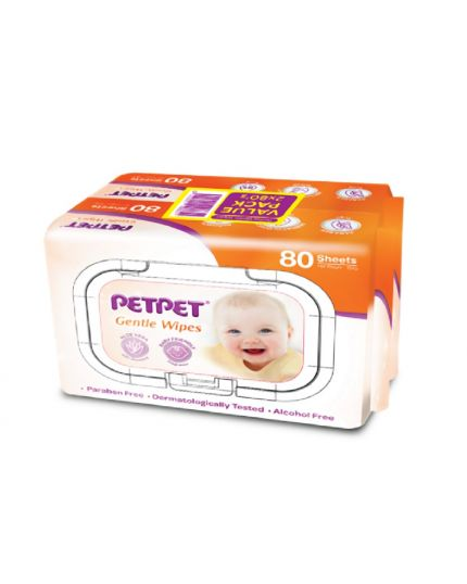 PetPet Baby Wipes 2x80's (Twin Pack)