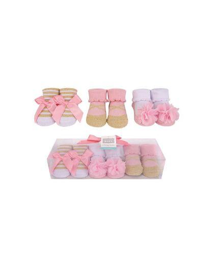 Hudson Baby Socks Gift Set 3pairs - Coral/Gold (58293)
