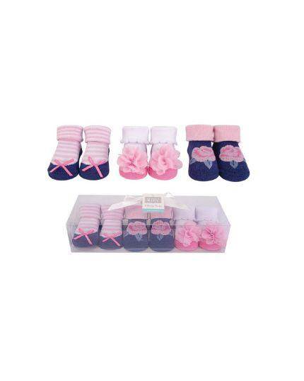 Hudson Baby Socks Gift Set 3pairs - Pink/Navy Flower (58296)