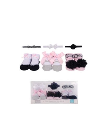 Hudson Baby 3pcs Headband & 3pairs Socks Gift Set - Silver Ballet (58279)