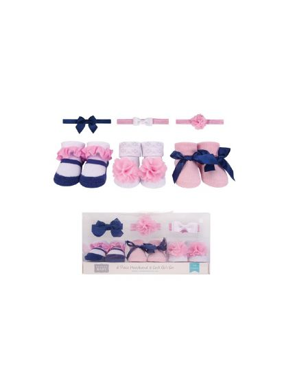 Hudson Baby 3pcs Headband & 3pairs Socks Gift Set -Navy/White (58276)