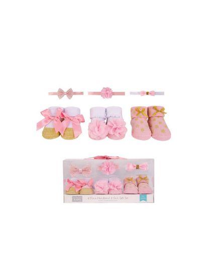 Hudson Baby 3pcs Headband & 3pairs Socks Gift Set - Coral/Gold (58283)