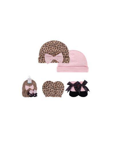 Hudson Baby Cap, Scratch Mitten & Socks Set - Leopard (54493)