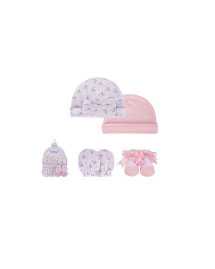 Hudson Baby Cap, Scratch Mitten & Socks Set - Pink/Grey Floral (54494)