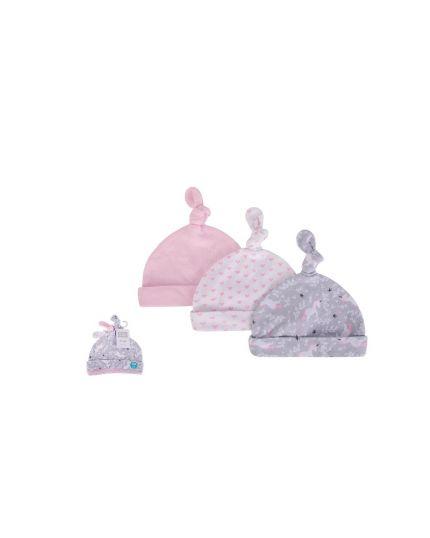 Hudson Baby New Born Baby Caps 3pcs - Whimsical unicorn (52306)