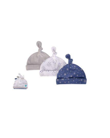 Hudson Baby New Born Baby Caps 3pcs - Cloud Mobile Blue (52309)